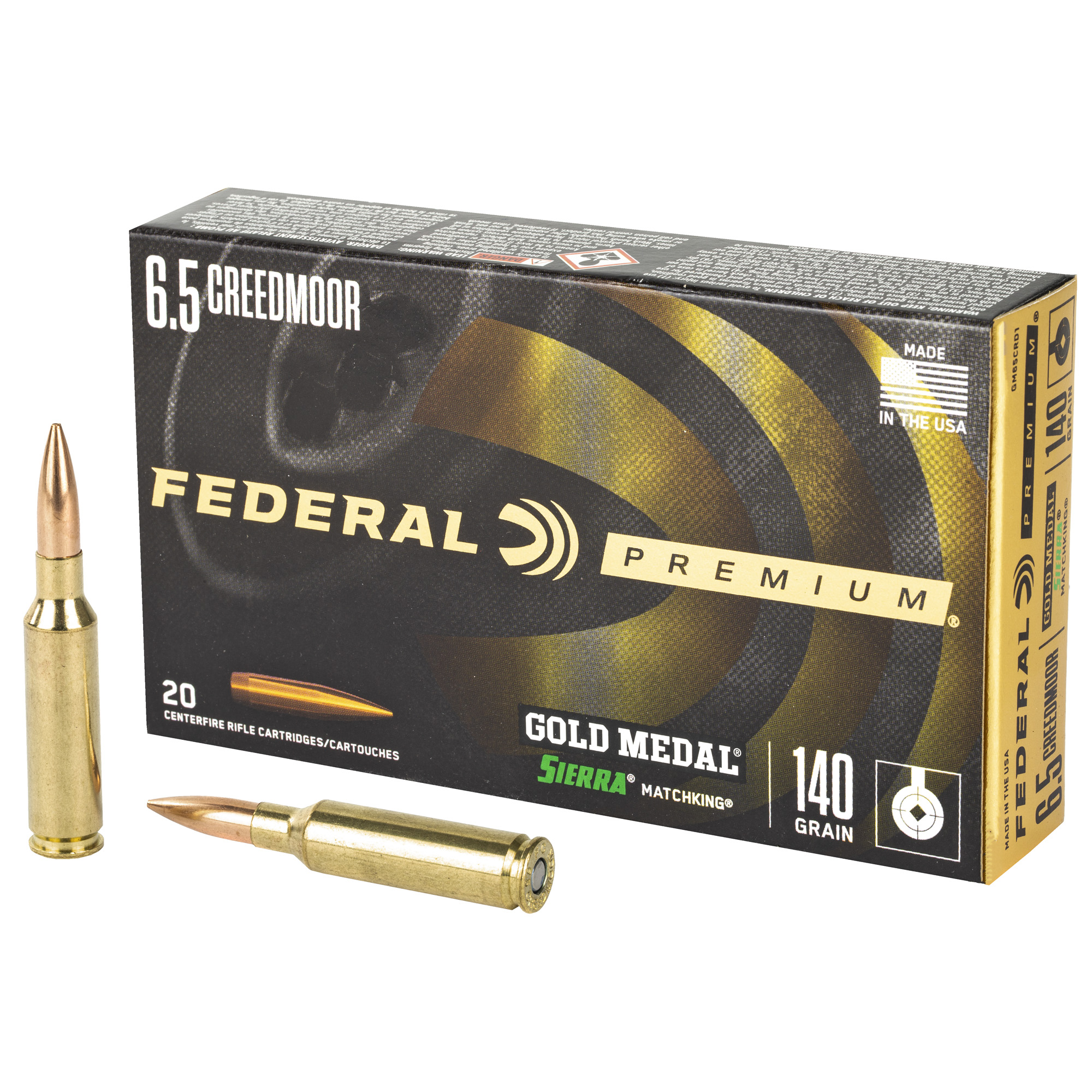 Fed Gold Mdl 6.5creed 140gr Smk 20