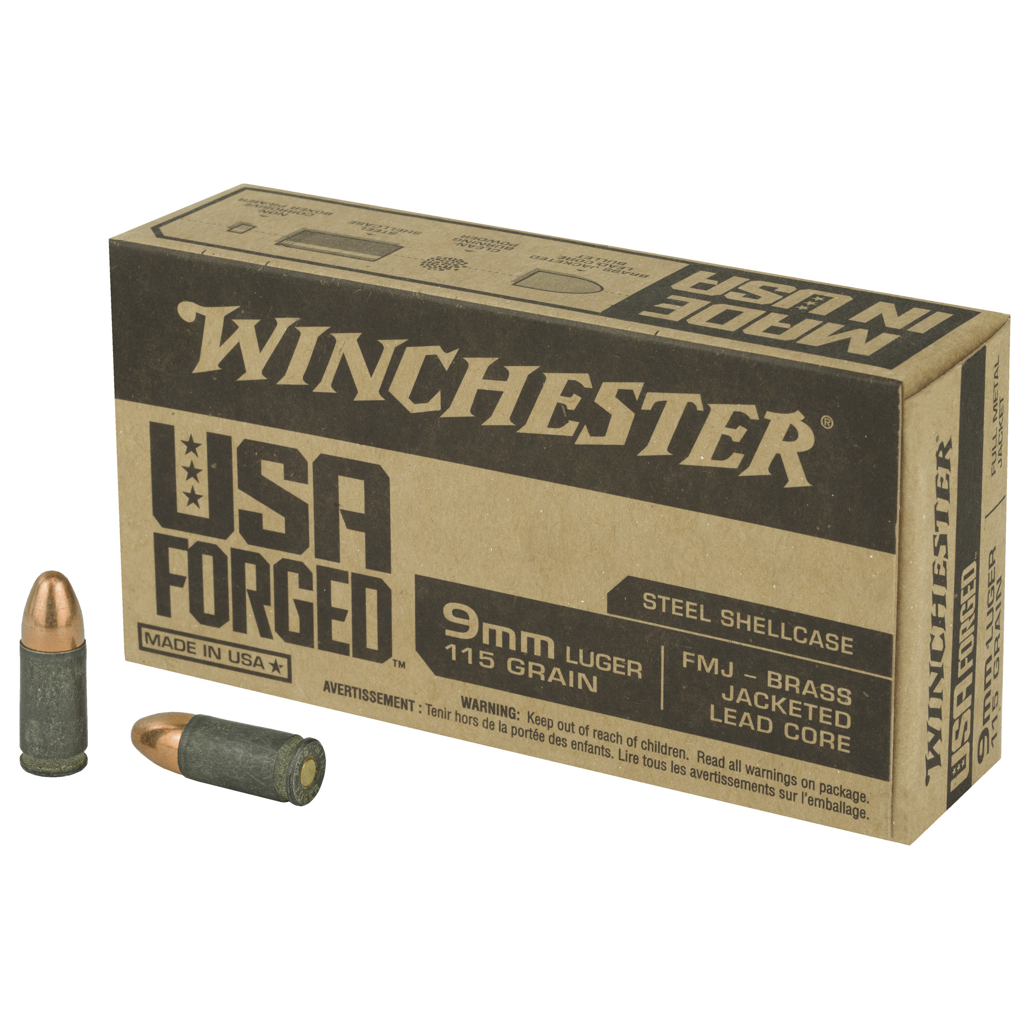 Win 9mm 115gr Fmj Brass Jlc 50/500