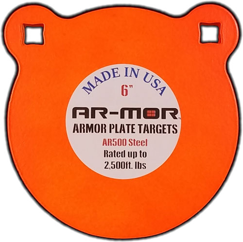 "Ar-mor 6"" Ar500 Steel Gong - 3/8"" Thick Steel Orange Round"