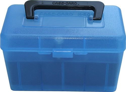 Mtm Deluxe Ammo Box 50-rounds - Rifle 7mm Rm To 300 Wm Clr Blu