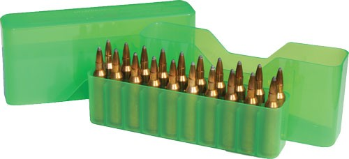 Mtm Ammo Box Large Rifle 20 - Rounds Slip Top Clear Green
