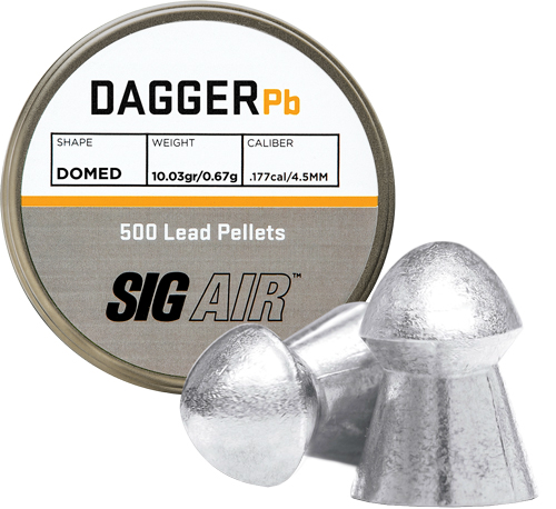 Sig Sig Pellets .177 Dagger Domed - 10.03gr Lead Alloy 500 Ct.