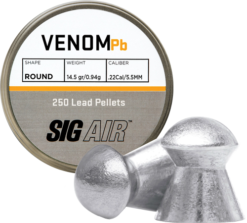 Sig Pellets .22 Venom 14.5gr - Round Lead Alloy 250 Ct.