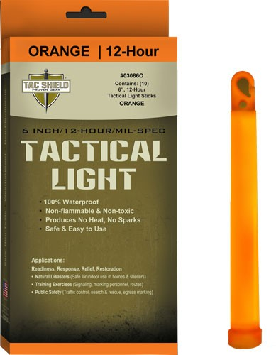 "Tac Shield Tactical Light - Stick 12 Hour 6"" Orange 10pk"