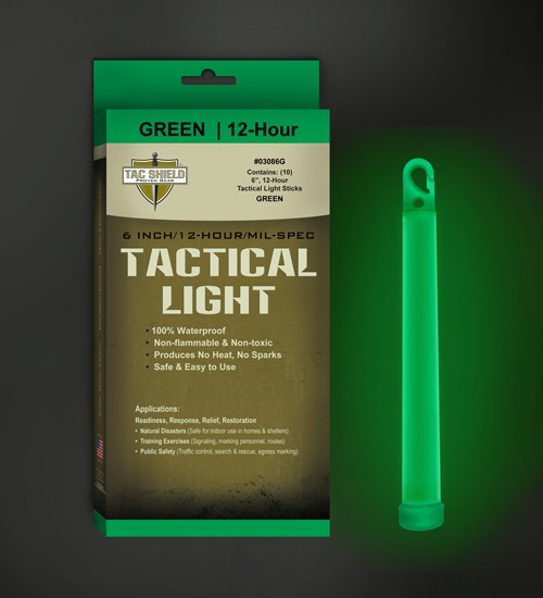 "Tac Shield Tactical Light - Stick 12 Hour 6"" Green 10pk"