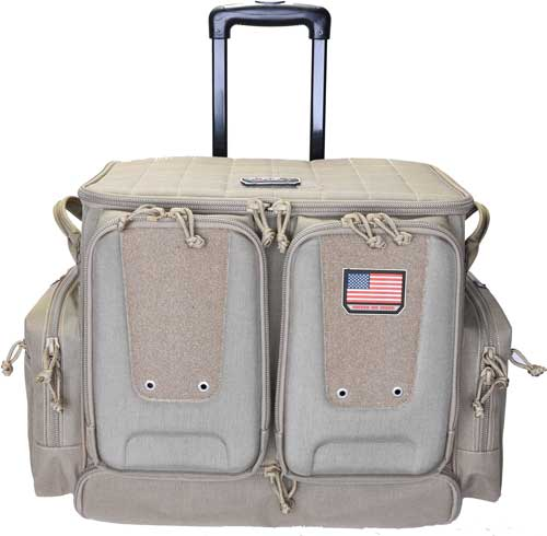 GPS Gps Tactical Rolling Range Bag - Holds 10 Handguns Tan