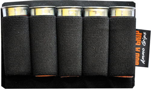 God'a Grip Ammo Grip Standard - 5 Shotshell Holder Black W/3m